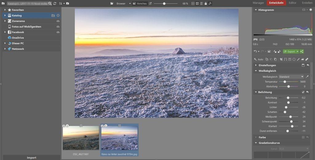 Weißabgleich, Vignettierung und 3 weitere Bearbeitungstipps, die winterliche Landschaftsfotos verschönern: instagram look.