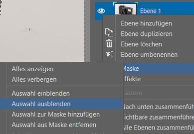 Produkte ausschneiden und auf einen anderen Hintergrund übertragen: Auswahl ausblenden unter Ebene > Maske.