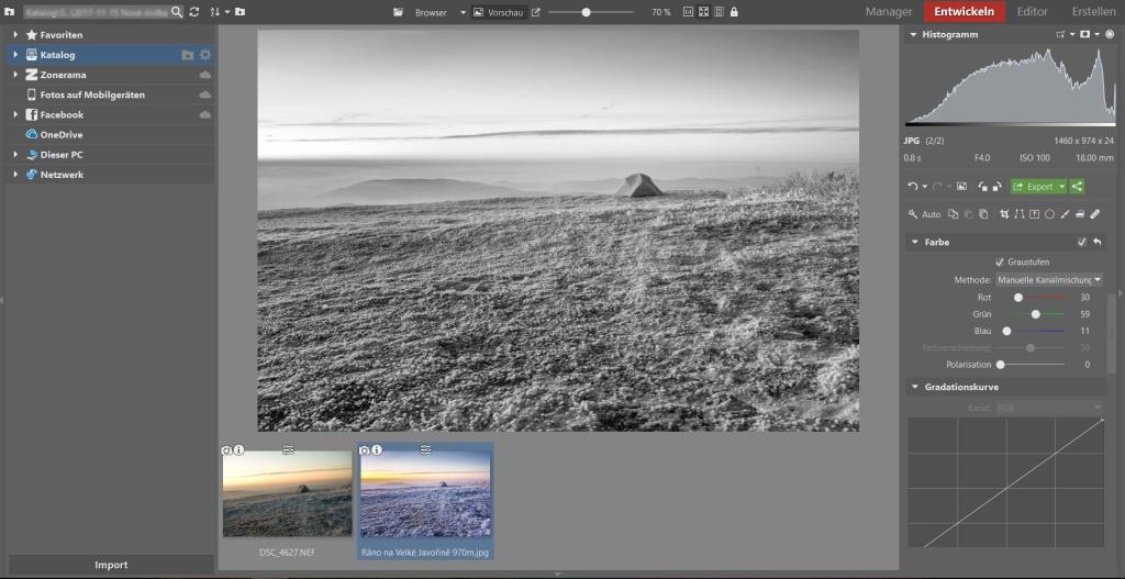 Weißabgleich, Vignettierung und 3 weitere Bearbeitungstipps, die winterliche Landschaftsfotos verschönern: schwarz-weiss foto.