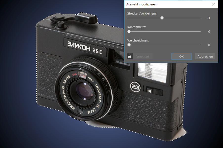 Produkte ausschneiden und auf einen anderen Hintergrund übertragen: Dialogfenster zur Bearbeitung der Auswahl.