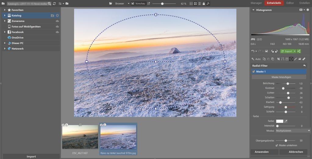 Weißabgleich, Vignettierung und 3 weitere Bearbeitungstipps, die winterliche Landschaftsfotos verschönern: Vignettierung.