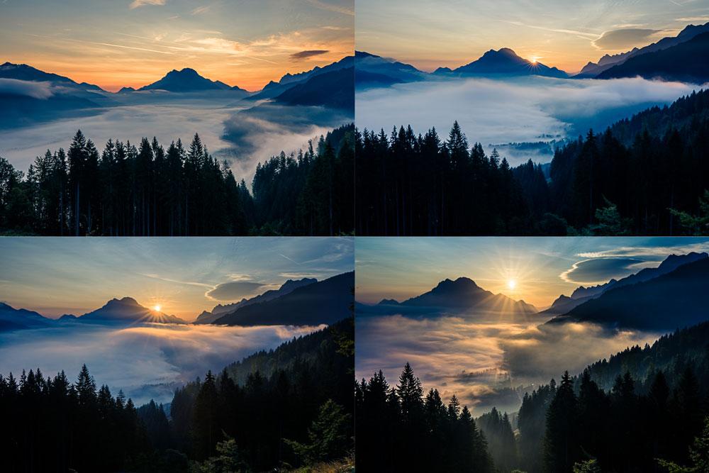 Wie man bei Nebel fotografiert: Der Sonnenaufgang über dem benebelten Tal.