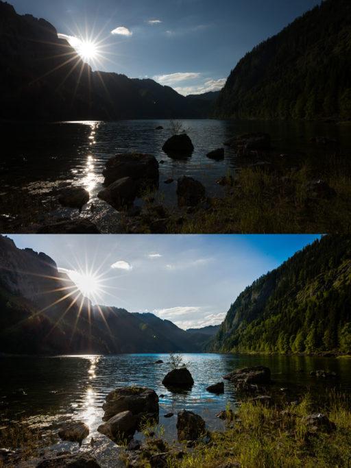 Aufnahmen bei Gegenlicht: Die Aufnahme habe ich in Zoner Photo Studio mit ein paar Schiebereglern im Modul Entwickeln bearbeitet.