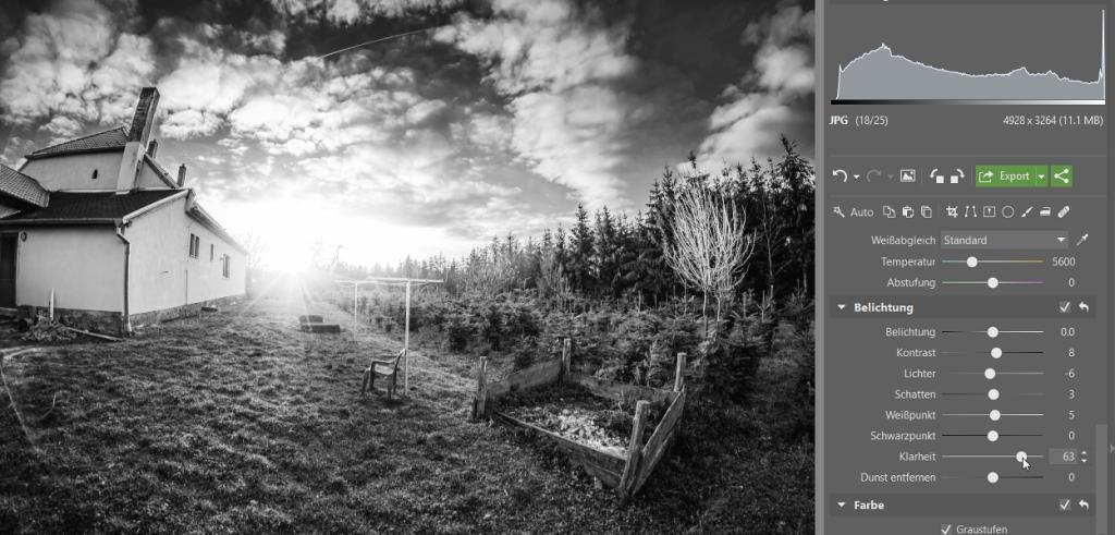 Schwarz-Weiß Fotos erstellen und bearbeiten: Nutzen Sie zum Feinschliff Ihrer Aufnahme die Belichtungstools.