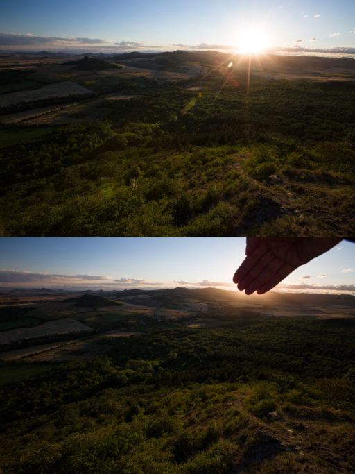 Aufnahmen bei Gegenlicht: Kleine Schweinchen werden Sie durch die Verdeckung der Sonne mit der Hand los.