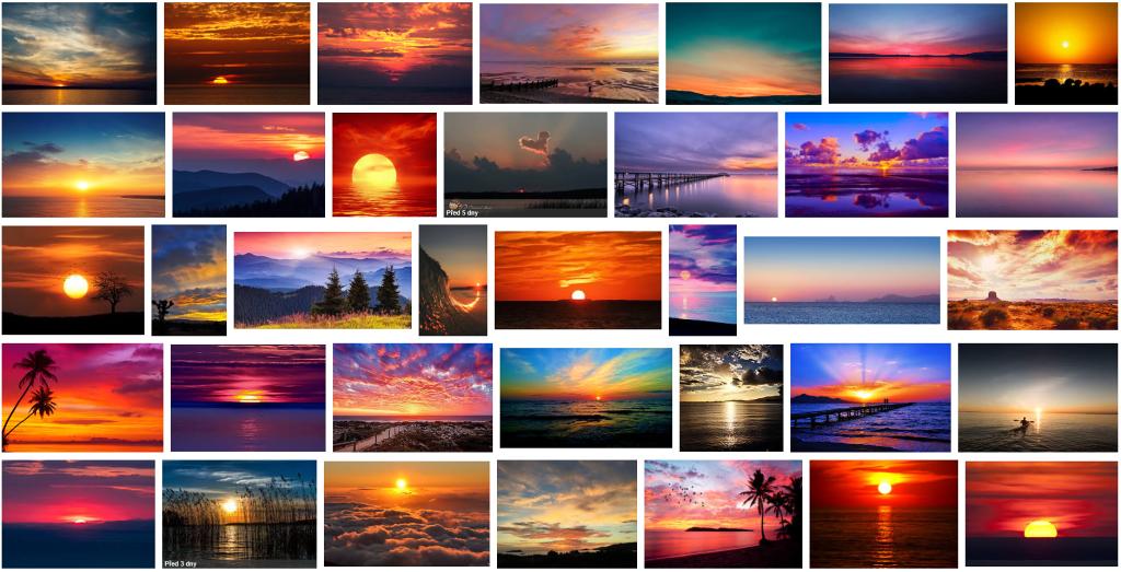 """12 Klischees: So sieht das Suchergebnis nach der Suchanfrage """"sunset"""" in Google aus."""
