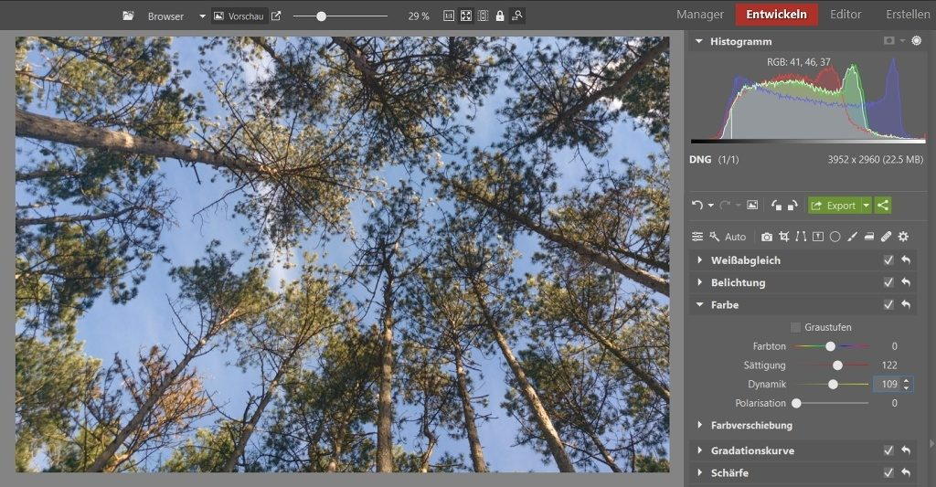 Bearbeitungen, die Ihre Fotos vom Smartphone verbessern: Ich habe die Farben zunächst mit der Sättigung hervorgehoben.