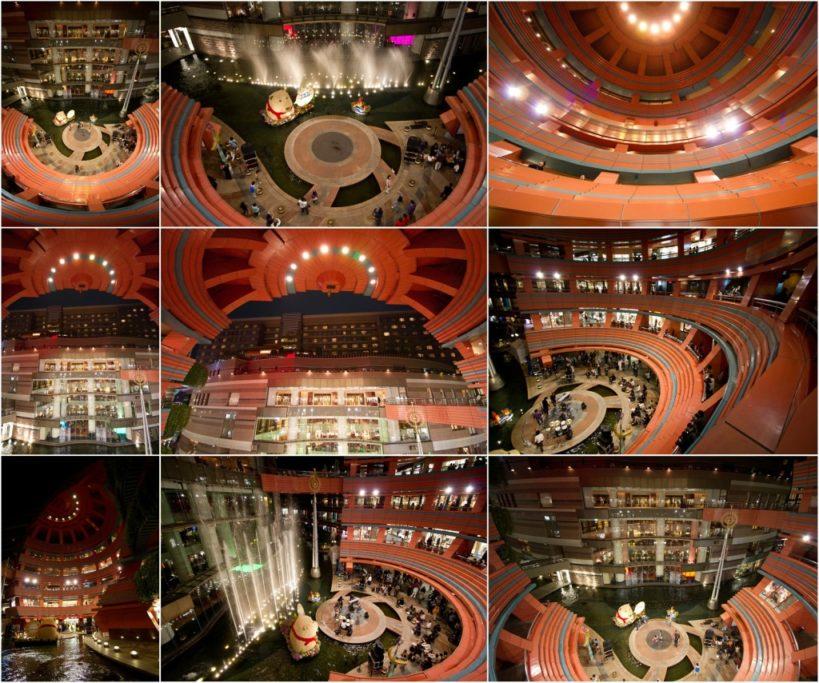 Wie verbessert man die Bildkomposition: Verschiedene Aufnahmen in der Mitte eines Einkaufszentrums.