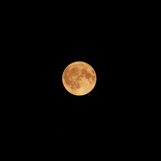 Wie man den Mond fotografiert: der Mond mit wärmeren Tönen.