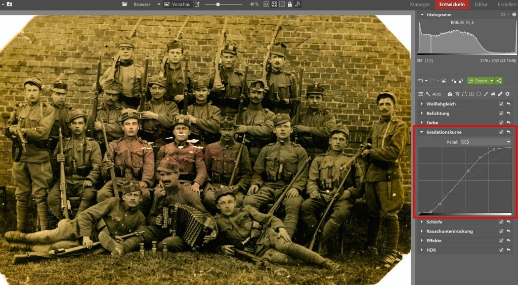 Wie man alte Fotos rettet: Hinzufügen mehrerer Ankerpunkte auf der Gradationskurve.