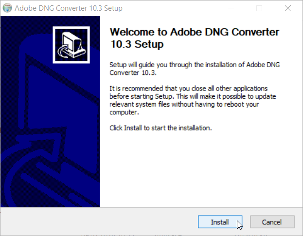 Adobe DNG Converter mit ZPS verbinden: Installation.
