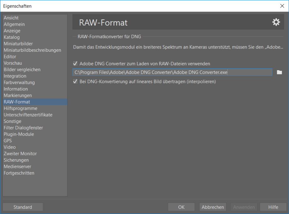 Adobe DNG Converter mit ZPS verbinden: angabe des Quellpfades für den Adobe DNG Converter, um RAW Dateien öffnen zu können.