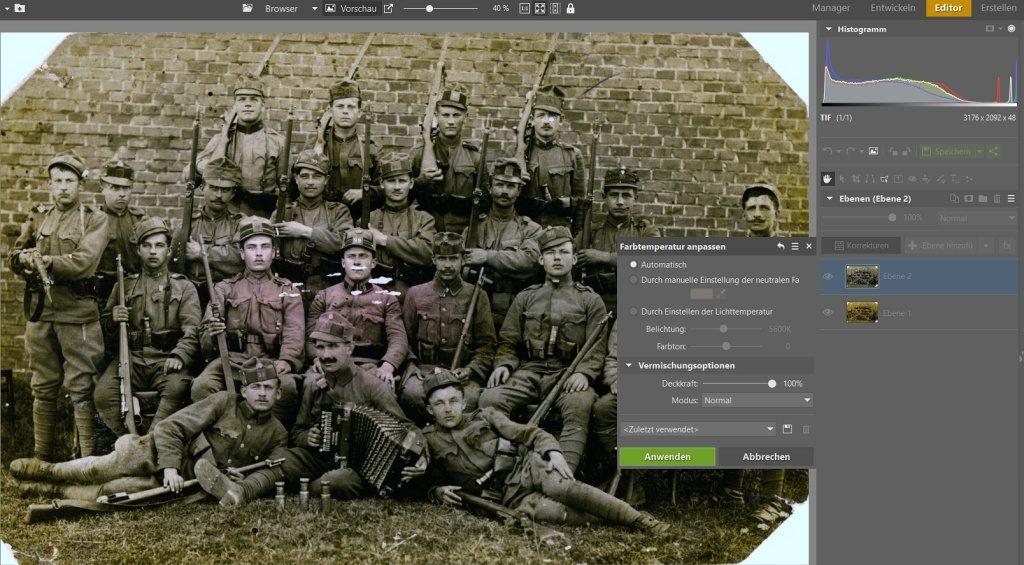 Wie man alte Fotos rettet: Die automatische Farbkorrektur.