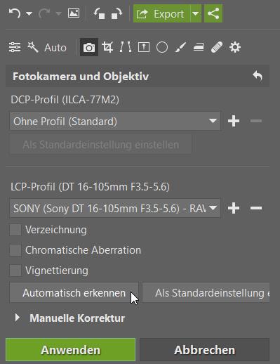 Adobe DNG Converter mit ZPS verbinden: Das Hinzufügen eines Objektivprofils (LCP) erfolgt mithilfe des Plus-Icons sowie der Auswahl des Herstellers und des Objektivmodells Ihres Objektivs.