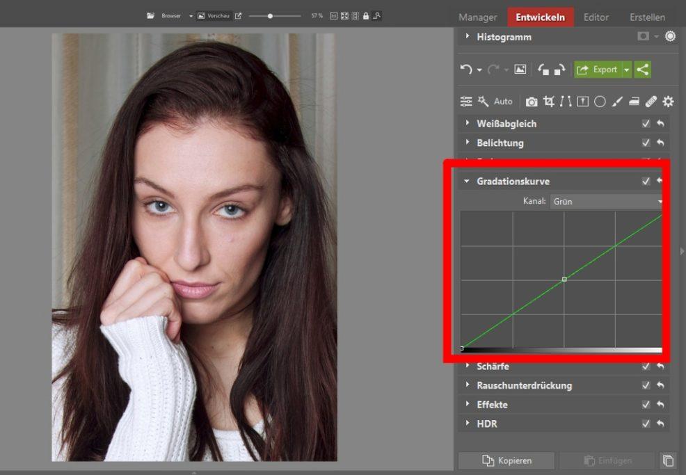 5 häufigsten Unvollkommenheiten bei Porträts: grün Kurve.