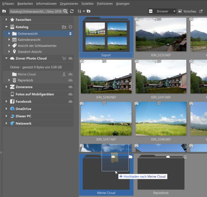 Fotos auf der Cloud sichern: verschieben Sie Ordner oder Dateien in die Cloud.