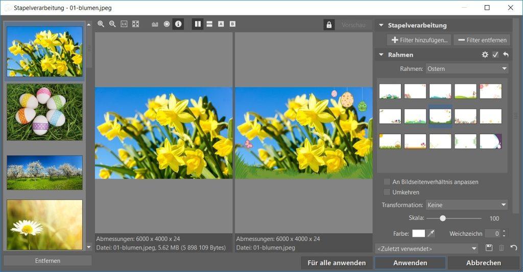 Fotorahmen für Sie zum Download vorbereitet: Stapelverarbeitung.