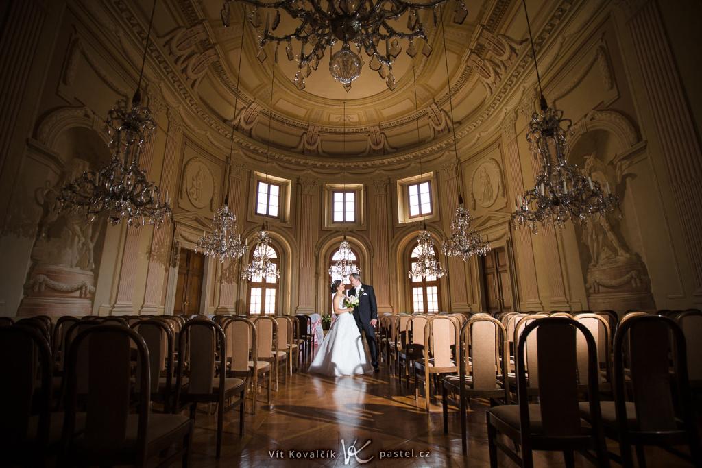 Der historische Saal – der größte Raum auf dem Schloss in Slavkov.