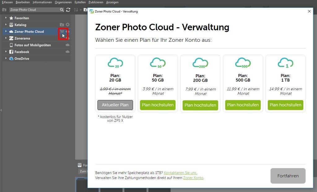 Mit einem Klick auf das Warenkorb-Icon neben der Zoner Photo Cloud können Sie zusätzlichen Speicherplatz auf der Cloud bestellen.
