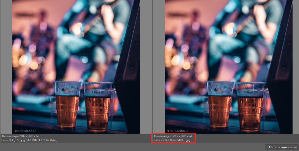 Stapelverarbeitung Umbenennen: Vor der Bestätigung können Sie das Ergebnis der Namensbezeichnung des Fotos kontrollieren.