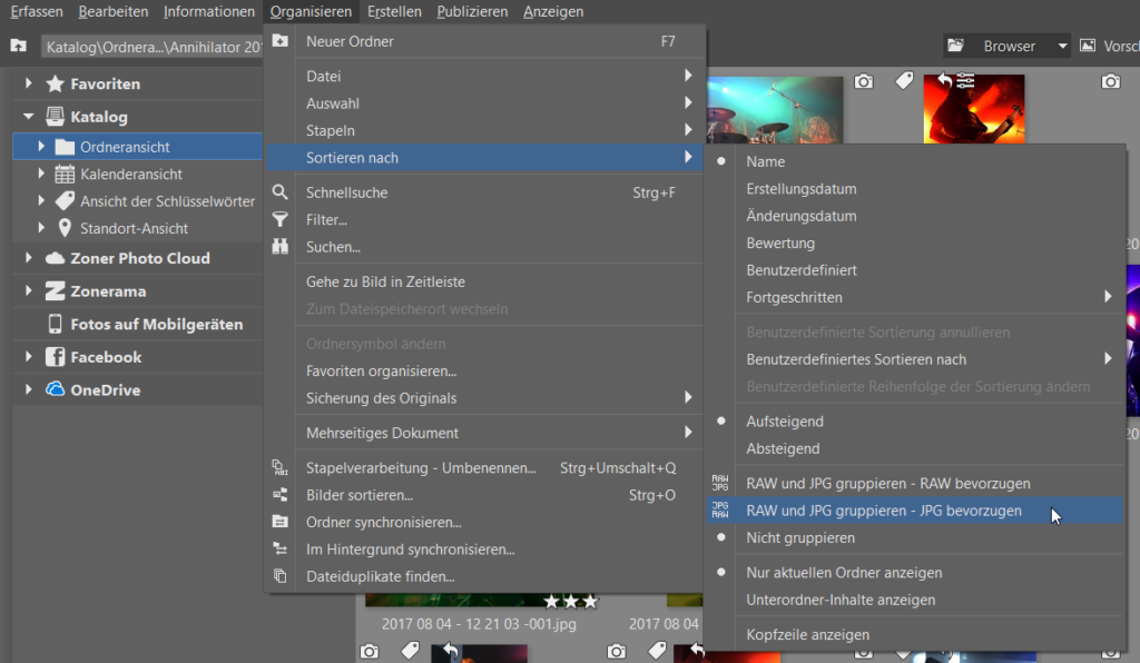 Bildverwaltung einfach gemacht dank Schlüsselwörtern: RAW oder JPG gruppieren.