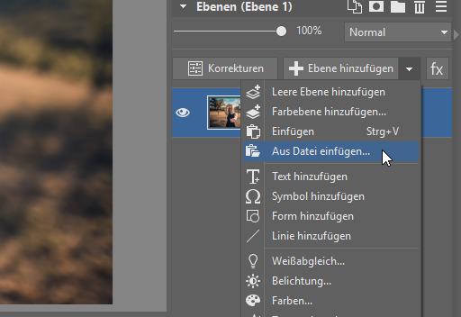 Wie man ein Foto in ein anderes Bild einfügt: aus Datei einfügen.