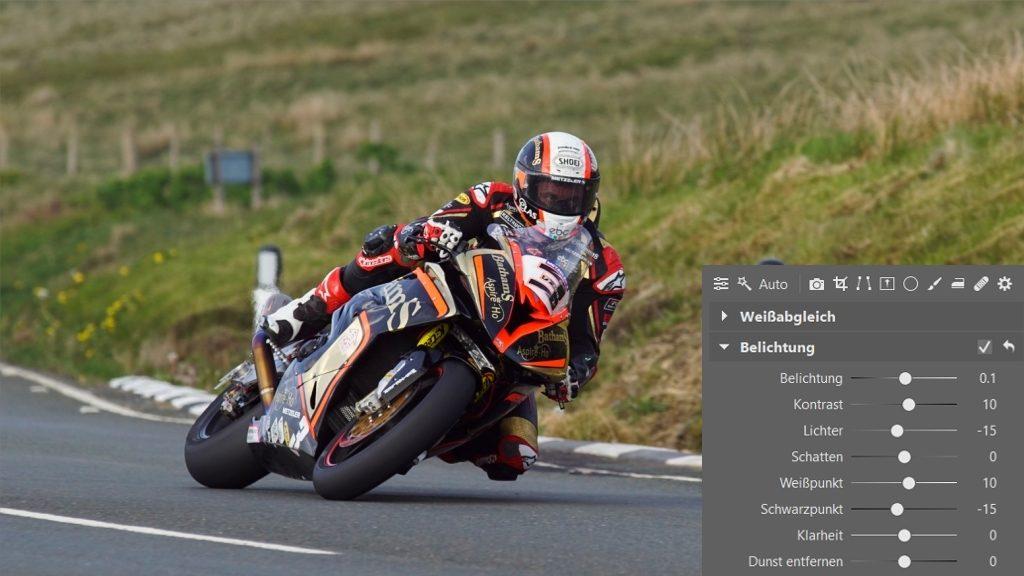Wie man Fotos von Motorradrennen bearbeitet: Belichtung.