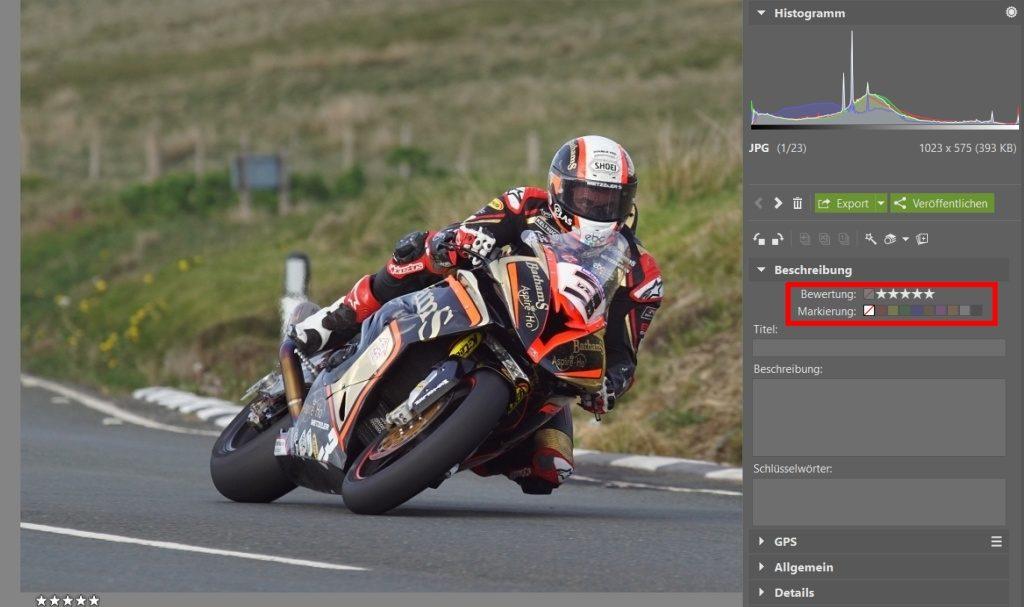 Wie man Fotos von Motorradrennen bearbeitet: Bewertung von Fotos.