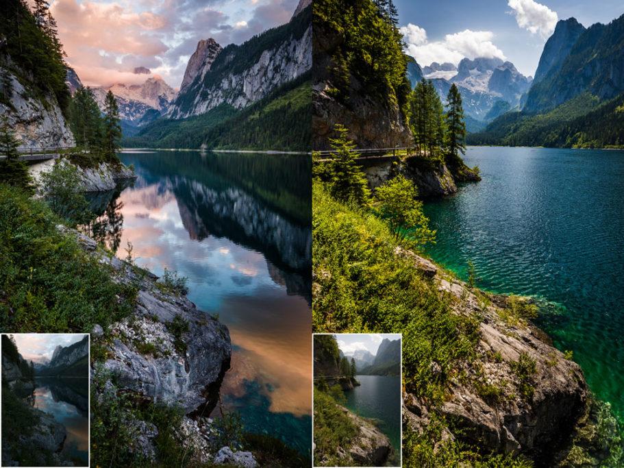Landschaften während des Tages und bei Regen fotografieren: Aufnahme gegen Abend und gegen Mittag.