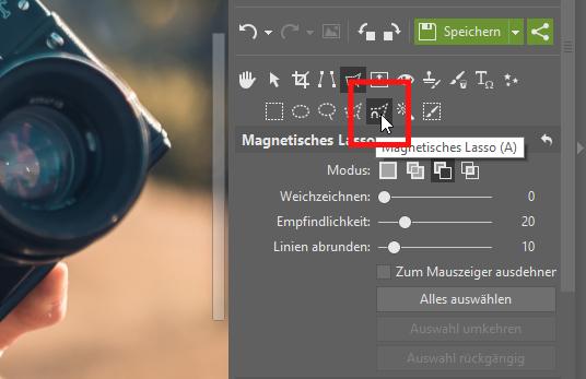 Wie man ein Foto in ein anderes Bild einfügt: Wählen Sie das gewünschte Objekt mithilfe des magnetischen Lassos aus.