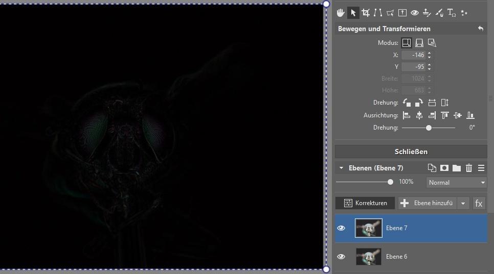 Focus Stacking: Je besser die Aufeinanderfolge der Ebenen ist, desto mehr schwarze Bildbereiche werden Sie auf der Ebene sehen.