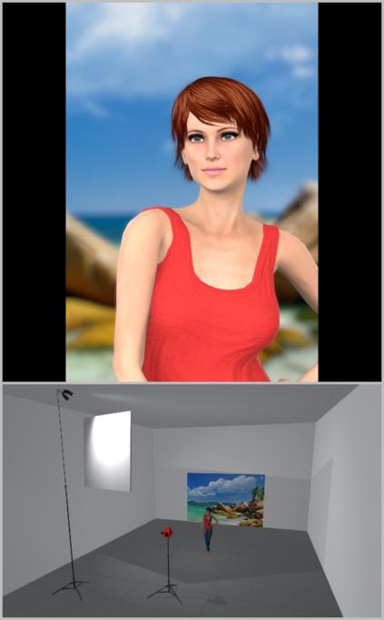 Porträtfotografie bei natürlichem Licht: Ich habe in die Simulation eine große, diffuse Fläche integriert, die die Wolken simulieren und die Sonne verdecken.