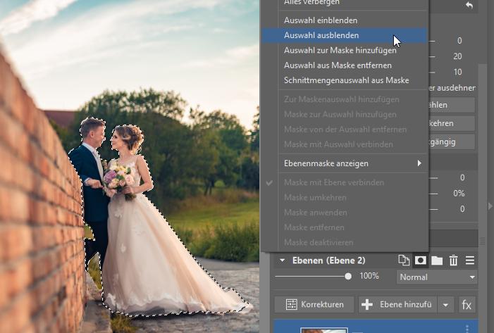 3 Tipps zur Bearbeitung des Hintergrundes: Maske zur Ebene hinzufügen und Auswahl ausblenden anklicken.