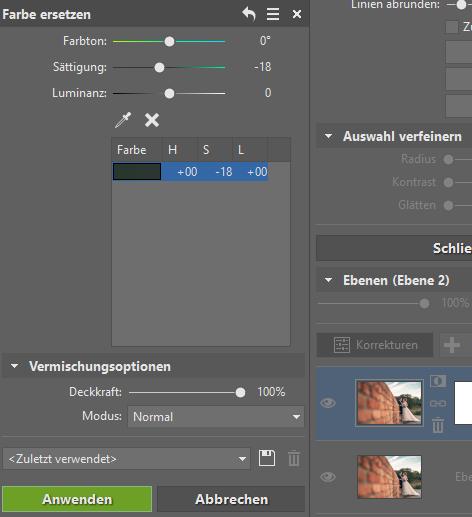 3 Tipps zur Bearbeitung des Hintergrundes: Reduzieren Sie die Sättigung im Tool Farbe ersetzen.
