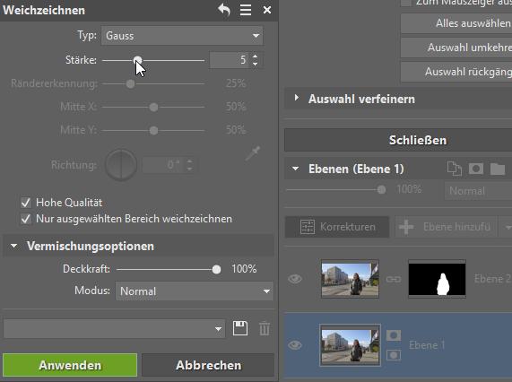 3 Tipps zur Bearbeitung des Hintergrundes: Gaussches Weichzeichnen des Hintergrundes.
