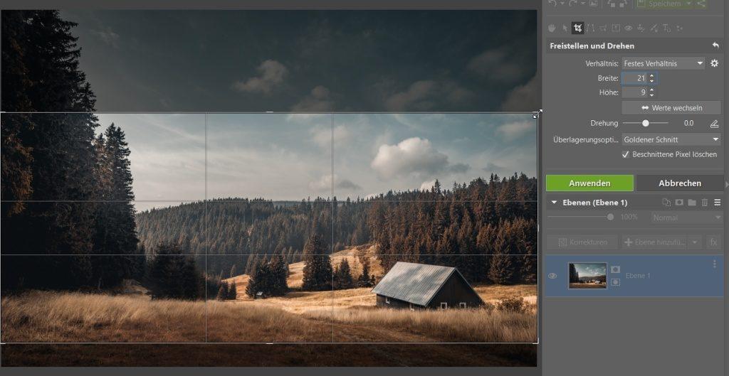 Wie man das Foto durch das Zuschneiden verbessern kann: Foto im Verhältnis 21:9 zuschneiden.