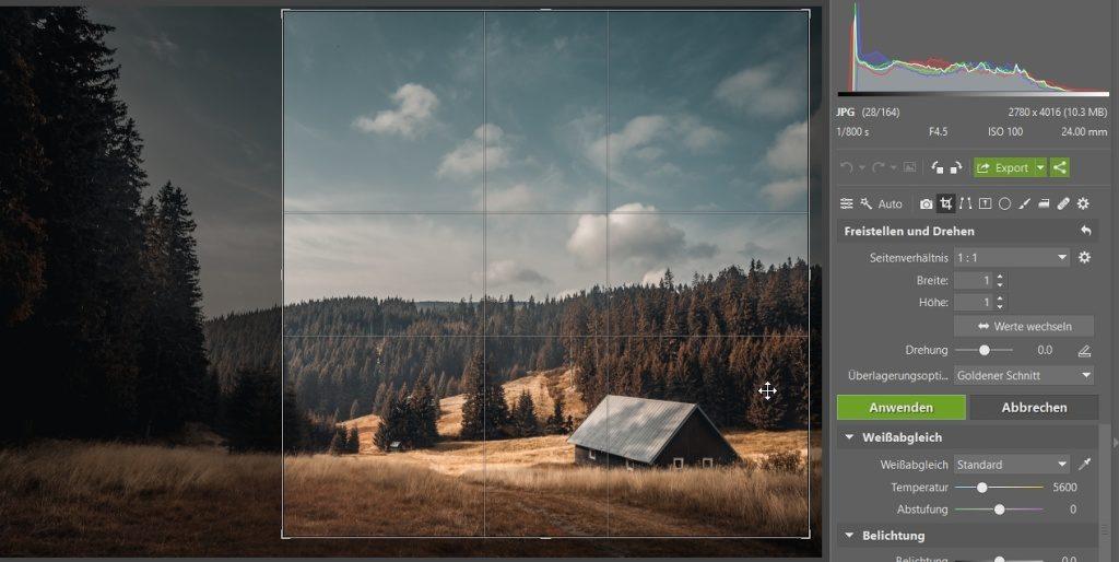 Wie man das Foto durch das Zuschneiden verbessern kann: der quadratische Komposition.