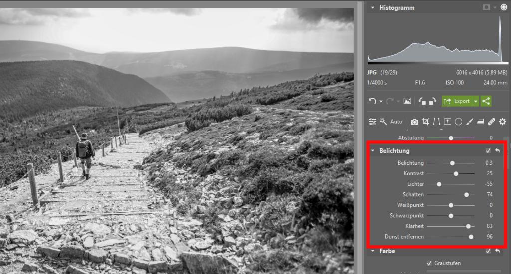 Schwarz-Weiß-Landschaftsaufnahmen - Belichtung