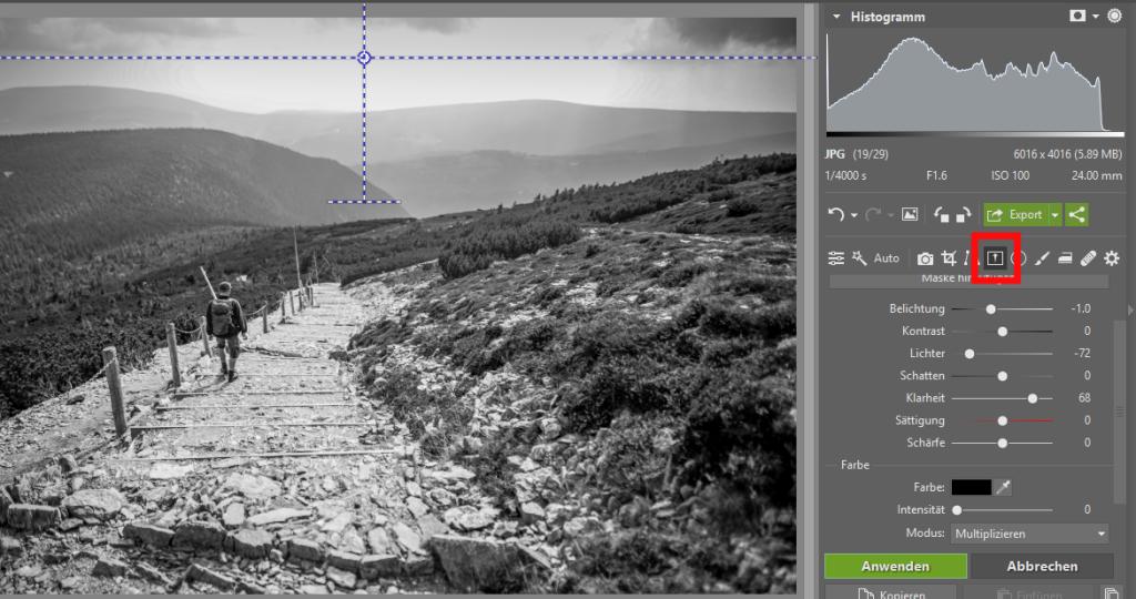 Schwarz-Weiß-Landschaftsaufnahmen - Verlaufsfilter