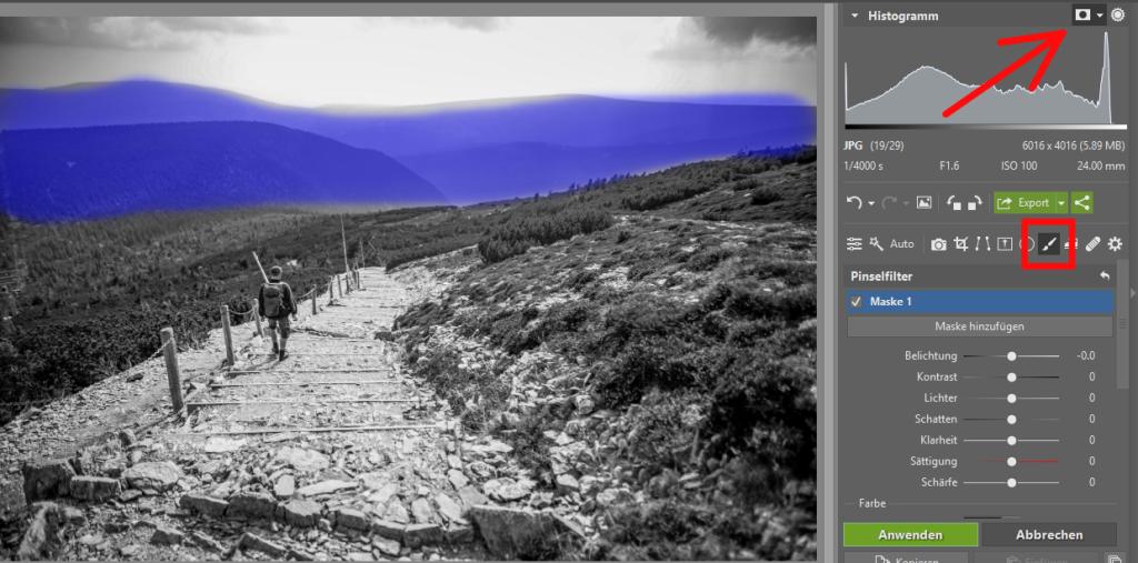 Schwarz-Weiß-Landschaftsaufnahmen - Pinselfilter
