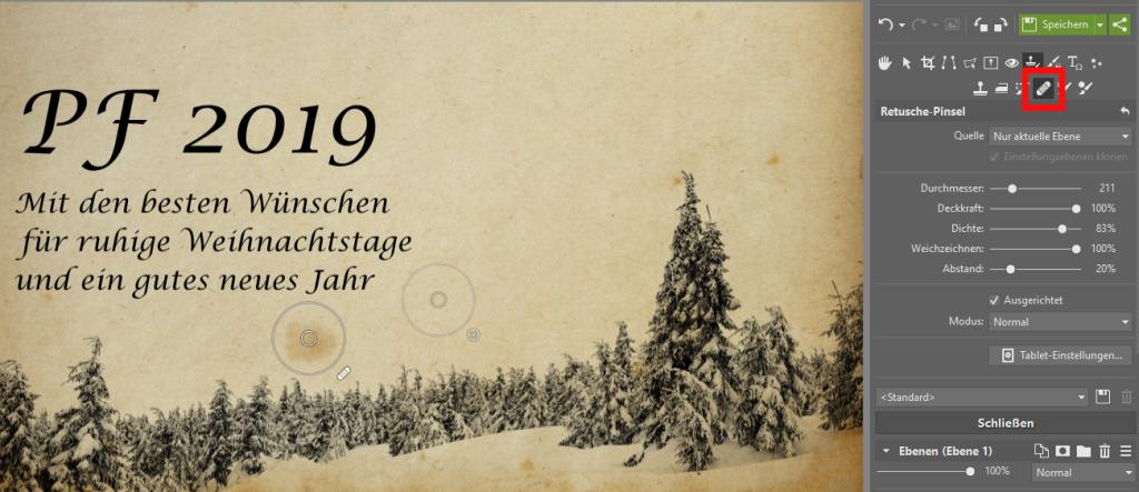 Erstellen Sie originelle Neujahrskarten - retusche