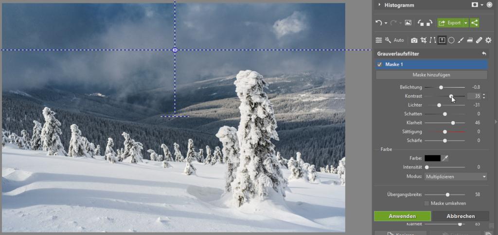 Peppen Sie Ihre Winterfotos auf - verlaufsfilter