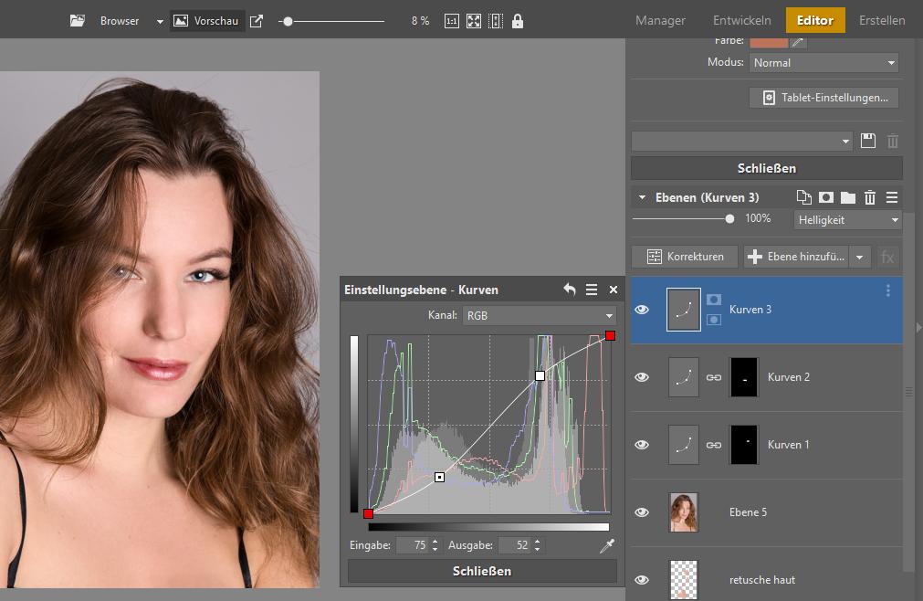 Lernen Sie Porträts zu retuschieren - editor kontrast