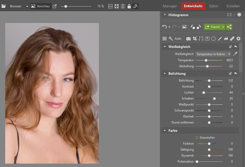 Lernen Sie Porträts zu retuschieren - kontrast