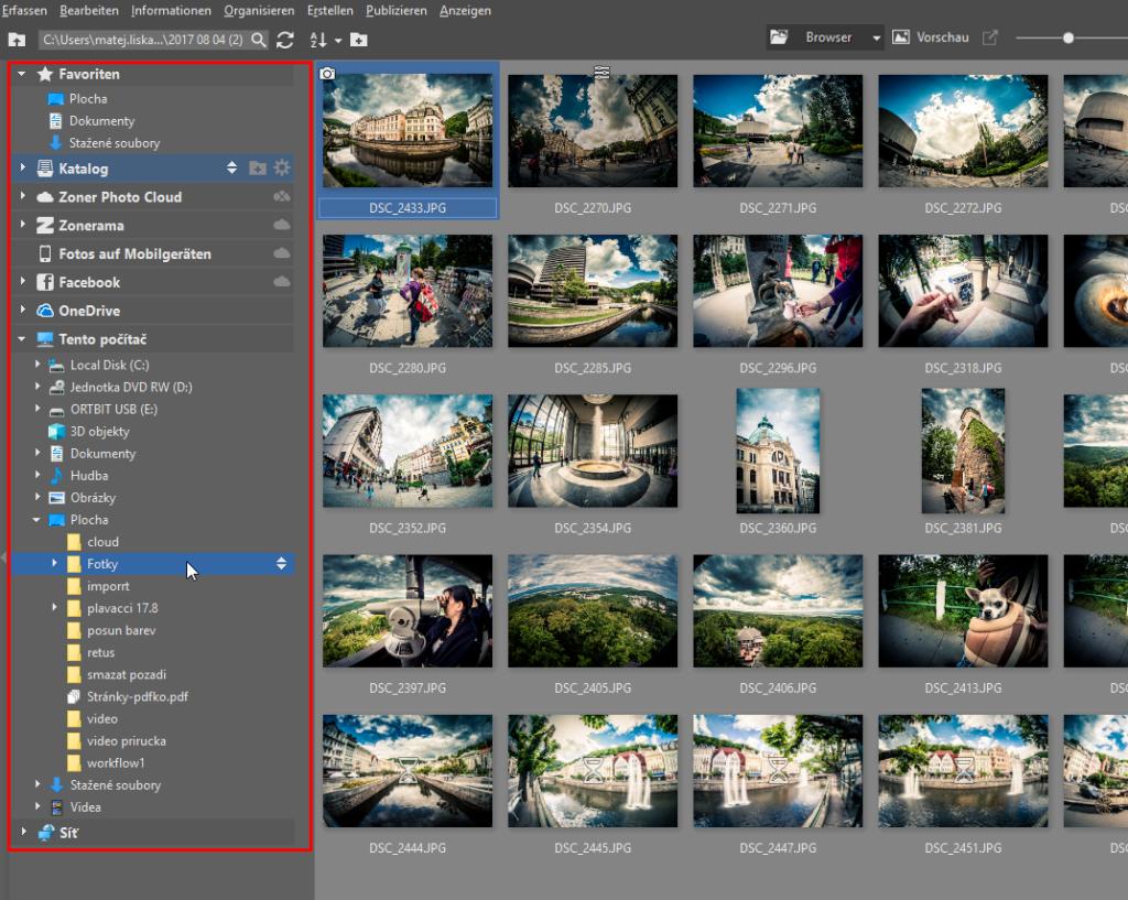 Fotos importieren - linke leiste