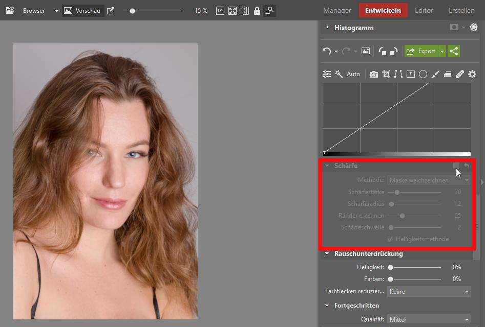 Lernen Sie Porträts zu retuschieren - schärfen