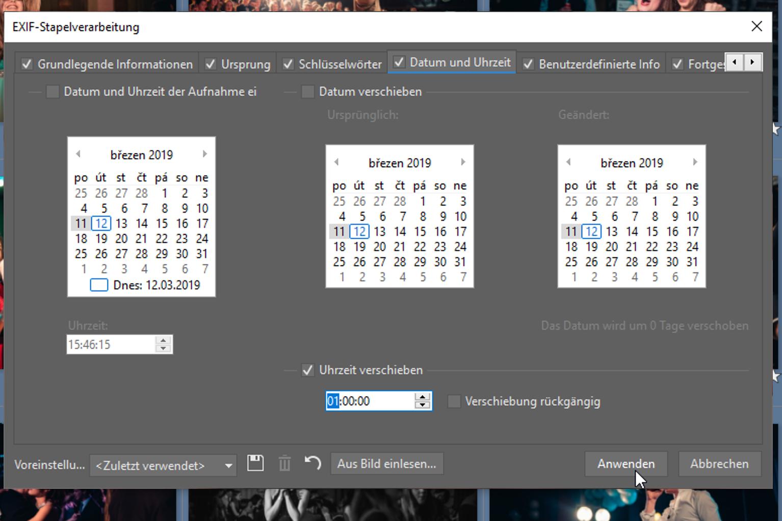 Korrigieren Sie das Datum und die Uhrzeit, falls diese nicht richtig sind.