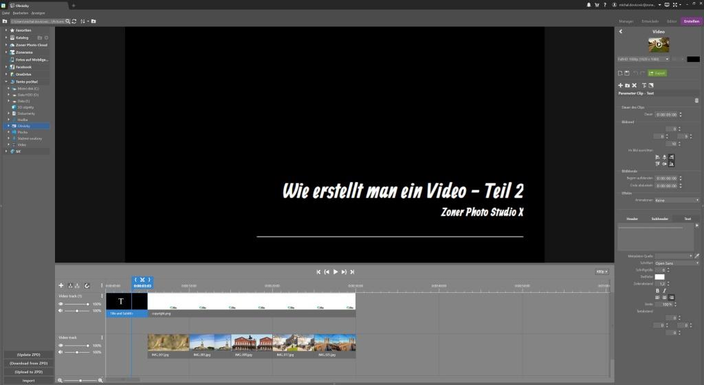 Wie erstellt man ein Video in ZPS X - Teil 2 - text