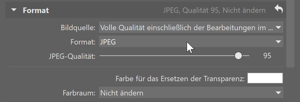 Verbesserter Export - Format