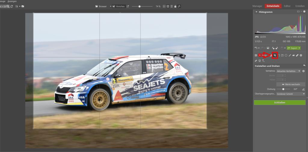 Bearbeiten von Bildern von Motorsport-Rennen - freistellen